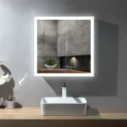 DECORAPORT 32 x 32 Inch LED Bathroom Mirror/Dress Mirror with Touch Button, Anti Fog, Dimmable, Vertical & Horizontal Mount (NT14-3232)