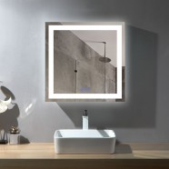 DECORAPORT 36 x 36 Inch LED Bathroom Mirror/Dress Mirror with Touch Button, Anti Fog, Dimmable, Vertical & Horizontal Mount (D212-3636)
