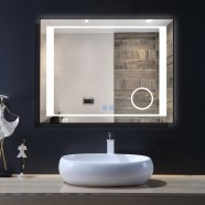 DECORAPORT 36 x 28 Inch LED Bathroom Mirror/Dress Mirror with Touch Button, Magnifier, Anti Fog, Dimmable, Vertical & Horizontal Mount (KT13-3628)
