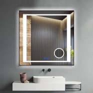 DECORAPORT 32 x 32 Inch LED Bathroom Mirror/Dress Mirror with Touch Button, Magnifier, Anti Fog, Dimmable, Vertical & Horizontal Mount (KT14-3232)