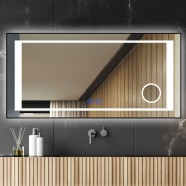 DECORAPORT 84 x 40 Inch LED Bathroom Mirror/Dress Mirror with Touch Button, Magnifier, Anti Fog, Dimmable, Vertical & Horizontal Mount (KT01-8440)
