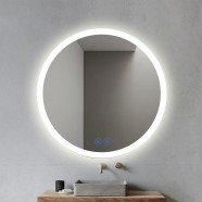 DECORAPORT 28 x 28 Inch LED Bathroom Mirror/Dress Mirror with Touch Button, Anti Fog, Dimmable, Vertical Mount (YT02-2828)