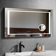 DECORAPORT 48 x 28 Inch LED Bathroom Mirror/Dress Mirror with Touch Button, Magnifier, Anti Fog, Dimmable, Vertical & Horizontal Mount (KT08-4828)