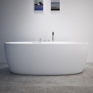 Decoraport 67 Freestanding Bathtub with Faucets - Acrylic White (DK-RL-MF1207)