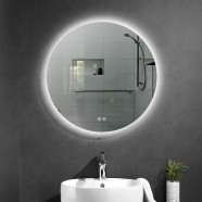DECORAPORT 28 x 28 Inch LED Bathroom Mirror with Touch Button, Anti Fog, Dimmable, Vertical Mount (D1002-2828)