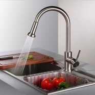 Decoraport Pull Out Modern Style Kitchen Faucet - Brass with Chrome Finish (D004)