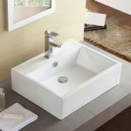 Decoraport White Rectangle Ceramic Above Counter Basin Bathroom Sink (CL-1114)