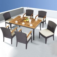 7 Pieces Dining Set: 1 * Dining Table, 4 * Chair, 2 * Armless Chair (JMS-3052)