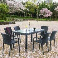 7 Pieces Dining Set: 1 * Dining Table, 6 * Chair (JMS-6122)