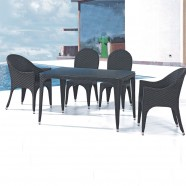 PE Rattan 5 Pieces Dining Set: 1 * Dining Table, 2 * Chair, 2 * Armless Chair (LLS-6111+1111)