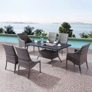 PE Rattan 7 Pieces Dining Set: 1 * Dining Table, 2 * Chair, 4 * Armless Chair (LLS-A6332+A1332)