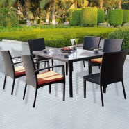 7 Pieces Dining Set: 1 * Dining Table, 4 * Chair, 2 Armless Chair (JMS-896)