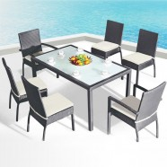 7 Pieces Dining Set: 1 * Dining table, 2 * Chair, 4 * Armless Chair (JMS-1105)