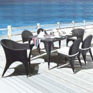 7 Pieces Dining Set: 1 * Dining table, 2 * Chair, 4 * Armless Chair (JMS-2005)