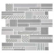 14.2 in. x 11.8 in. Glass and Stone Blend Strip Mosaic Tile - 8mm Thickness (DK-AD806153)