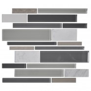 14.2 in. x 11.8 in. Glass and Stone Blend Strip Mosaic Tile - 8mm Thickness (DK-AD806091)