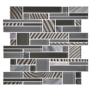 14.2 in. x 11.8 in. Glass and Stone Blend Strip Mosaic Tile - 8mm Thickness (DK-AD806152)