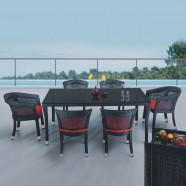 PE Rattan 7 Pieces Dining Set: 1 * Dining Table, 2 * Chair, 4 * Armless Chair (LLS-6010+1010)