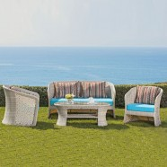 4-Piece PE Rattan Sofa Set: 1 * Loveseat, 2 * Lounge Chair, 1 * Coffee Table (LLS-FSAL01)