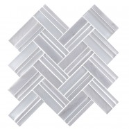 12.4 in. x 13.8 in. Glass Stone Blend Strip Mosaic Tile in Grey - 8mm Thickness (DK-8NF0606-001)