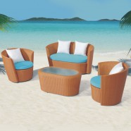 4-Piece PE Rattan Sofa Set: 1 * Loveseat, 2 * Lounge Chair, 1 * Coffee Table (LLS-311-1)