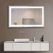 40 x 24 In. Horizontal LED Lighted Bathroom Silvered Mirror, Touch Button (DK-OD-CK010-G)