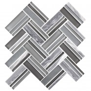 12.4 in. x 13.8 in. Glass Stone Blend Strip Mosaic Tile in Grey - 8mm Thickness (DK-8NF0606-005)