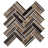 12.4 in. x 13.8 in. Glass Stone Blend Strip Mosaic Tile in Multi - 8mm Thickness (DK-8NF0606-006)