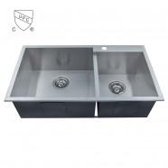 Stainless Steel Double Bowls Handmade Kitchen Sink (DK-SC-DG3318-R0)
