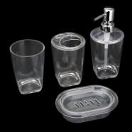 4-Piece Bathroom Accessory Set, Transparent Color Collection (DK-ST002)