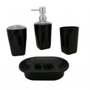 4-Piece Bathroom Accessory Set, Black Collection (DK-ST003)