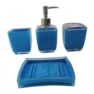 4-Piece Bathroom Accessory Set, Square and Blue Collection (DK-ST006)