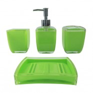 4-Piece Bathroom Accessory Set, Square and Green Collection (DK-ST007)