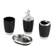 4-Piece Bathroom Accessory Set, Black Collection (DK-ST008)