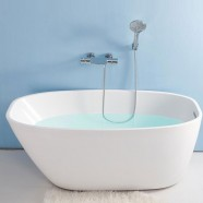 59 In White Acrylic Freestanding Bathtub (DK-YU-15575)