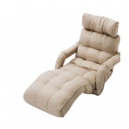 Beige Soft Linen Fabric Folding Floor Sofa Recliner (K16RS01-BE)