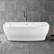 65 In Back to Wall Freestanding Bathtub with Drain - Acrylic White (DK-1705)