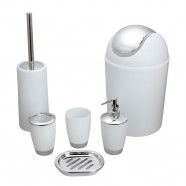 6-Piece Bathroom Accessory Set, White Collection (DK-ST015)
