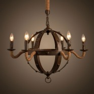 6-Light Iron Built Rust Vintage Rope Chandelier (DK-8123-D6)