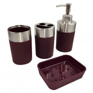 4-Piece Bathroom Accessory Set, Dark Red Collection (DK-ST022)