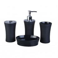 4-Piece Bathroom Accessory Set, Black Collection (DK-ST017)