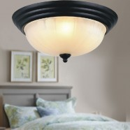 2-Light Iron Built Black Flush-Mount Ceiling Light with Glass Shades (DK-2031-400)