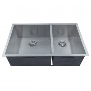 33 x 20 In. Stainless Steel Double Bowls Handmade Kitchen Sink (D3320-R0)