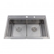 30 x 18.5 In. Stainless Steel Double Bowl Kitchen Sink (DLR3018-R10)