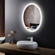 24 x 32 In Vertical Oval LED Bathroom Mirror, Touch Button (DK-OD-CL054)