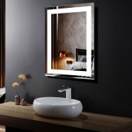 DECORAPORT 24 x 32 Inch LED Bathroom Mirror/Dress Mirror with Touch Button, Anti Fog, Dimmable, Vertical & Horizontal Mount (CK010-2432-TS)