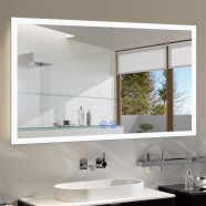 DECORAPORT 55 x 36 Inch LED Bathroom Mirror/Dress Mirror with Touch Button, Bluetooth, Anti-Fog, Dimmable, Vertical & Horizontal Mount (N031-5536-TX)