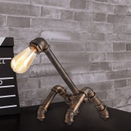 Iron Built Rust Vintage Pipe Table Lamp (DK-6103-T1)