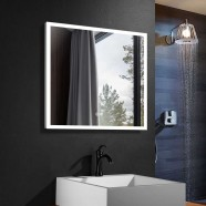 DECORAPORT 36 x 36 Inch LED Bathroom Mirror/Dress Mirror with Touch Button, Anti Fog, Dimmable, Vertical & Horizontal Mount (NT12-3636)
