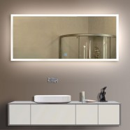 84 x 40 In. Horizontal LED Illuminated Bathroom Silvered Mirror, Touch Button (DK-OD-N031-A)